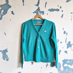 Vintage Lacoste Teal Button Front Acrylic Cardigan